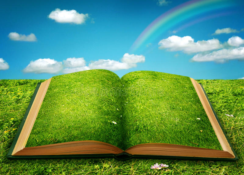 Open magic book. Of nature royalty free stock photography