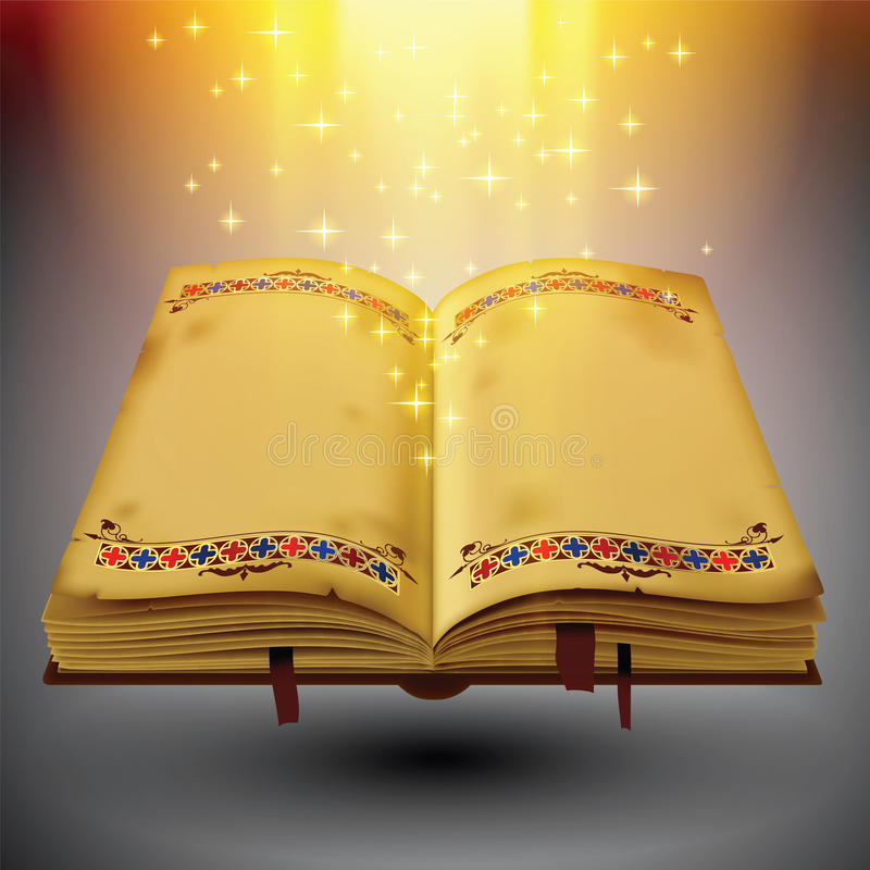 Open magic book royalty free illustration