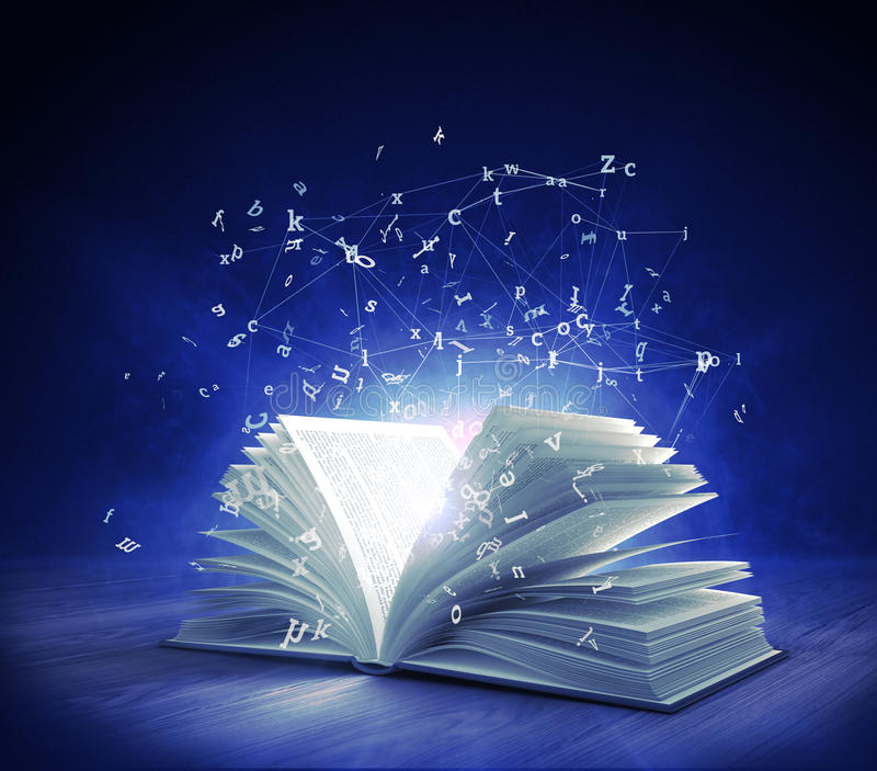 Open Magic Book with magic light and flying letters. 3d rendering vector illustration