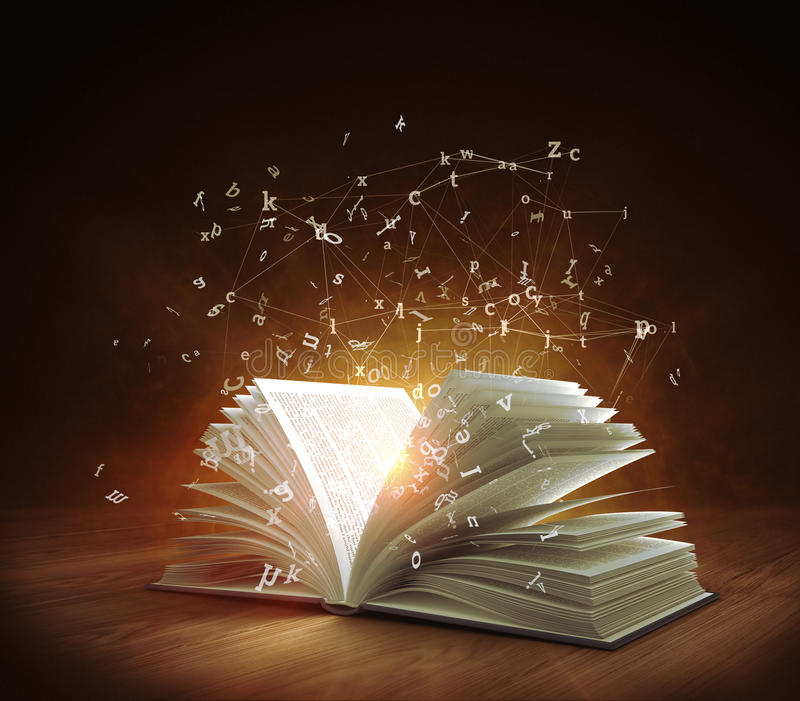 Open Magic Book with magic light and flying letters. 3d rendering stock illustration