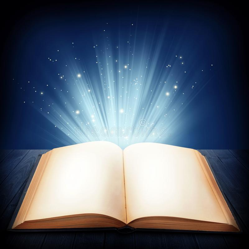 Open magic book. On a blue background vector illustration