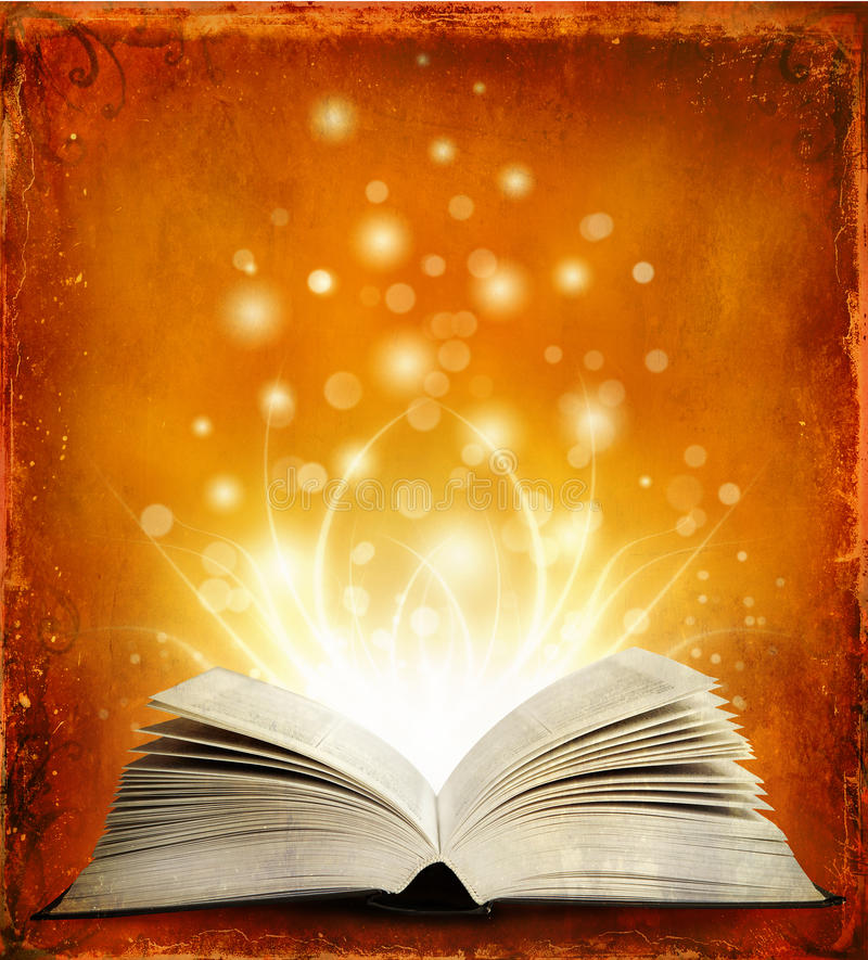 Free Open Magic Book With Lights Stock Photo - 23043820