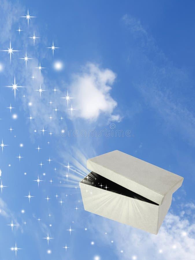Open magic gift box on sky. Background royalty free illustration