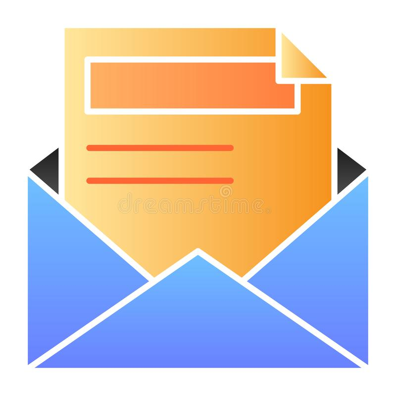 Open mail flat icon. Envelope and letter color icons in trendy flat style. Document gradient style design, designed for stock illustration