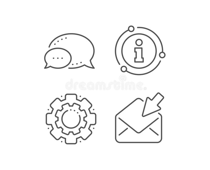Open Mail line icon. View Message correspondence sign. Vector. Open Mail line icon. Chat bubble, info sign elements. View Message correspondence sign. E-mail royalty free illustration