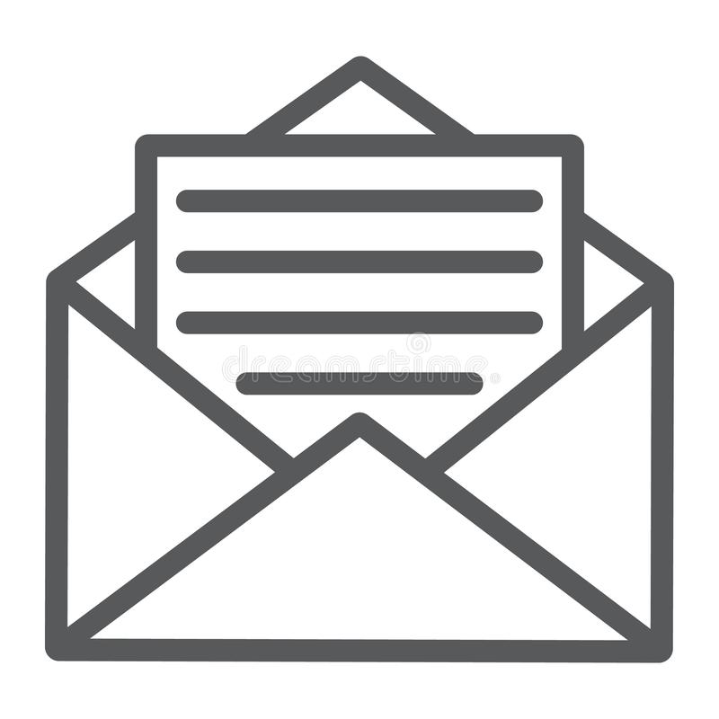 Open mail line icon, envelope and letter, email stock illustration