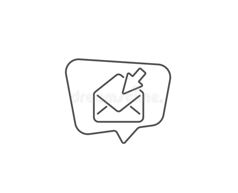 Open Mail line icon. View Message correspondence sign. Vector. Open Mail line icon. Chat bubble design. View Message correspondence sign. E-mail symbol. Outline stock illustration