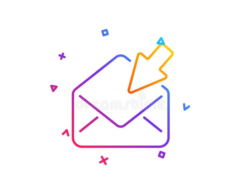 Open Mail line icon. View Message correspondence sign. Vector. Open Mail line icon. View Message correspondence sign. E-mail symbol. Gradient line button. Open royalty free illustration