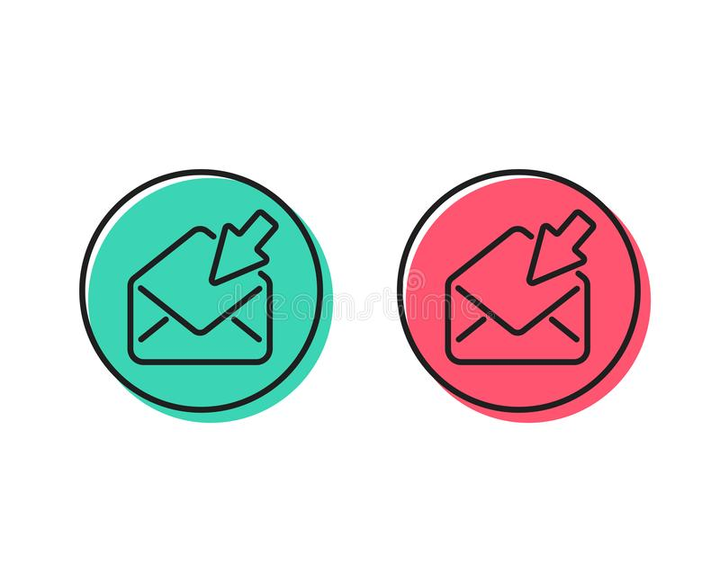 Open Mail line icon. View Message correspondence sign. Vector. Open Mail line icon. View Message correspondence sign. E-mail symbol. Positive and negative circle royalty free illustration