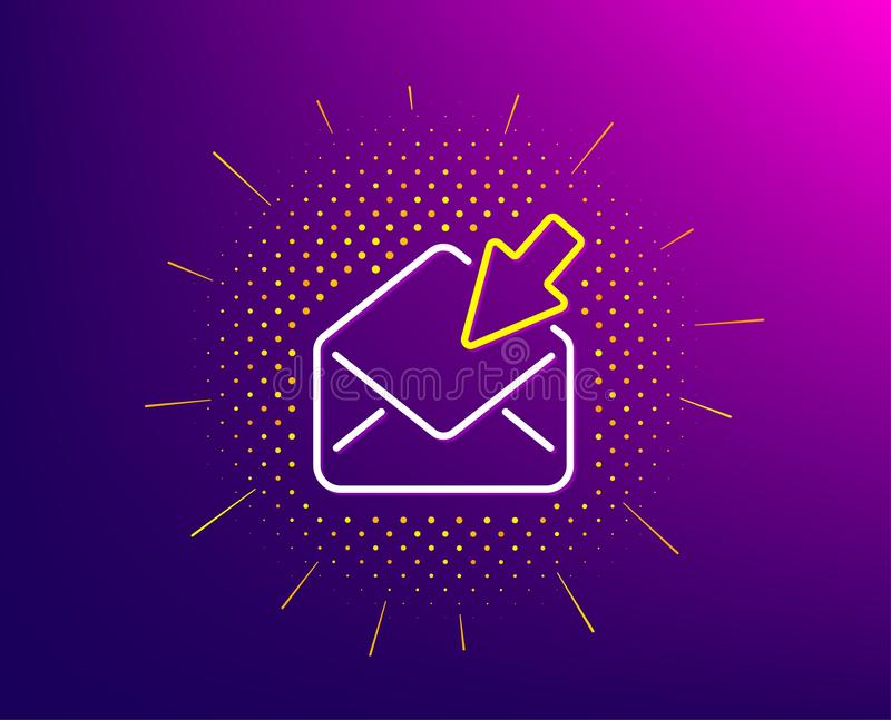 Open Mail line icon. View Message correspondence sign. Vector. Open Mail line icon. Halftone pattern. View Message correspondence sign. E-mail symbol. Gradient vector illustration