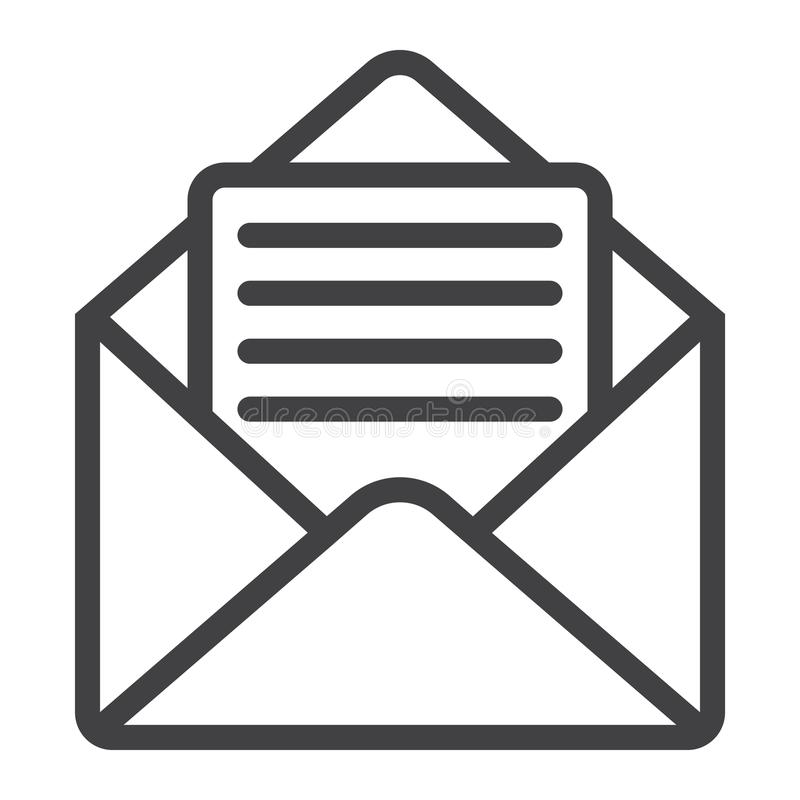 Open mail line icon, web and mobile, open letter royalty free illustration