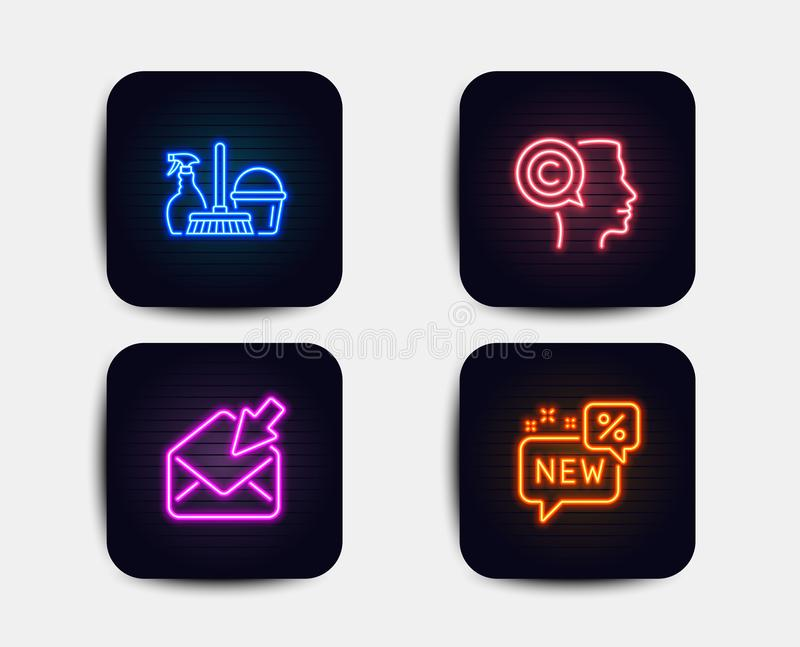 Open mail, Writer and Household service icons. New sign. View e-mail, Copyrighter, Cleaning equipment. Vector. Neon set of Open mail, Writer and Household vector illustration