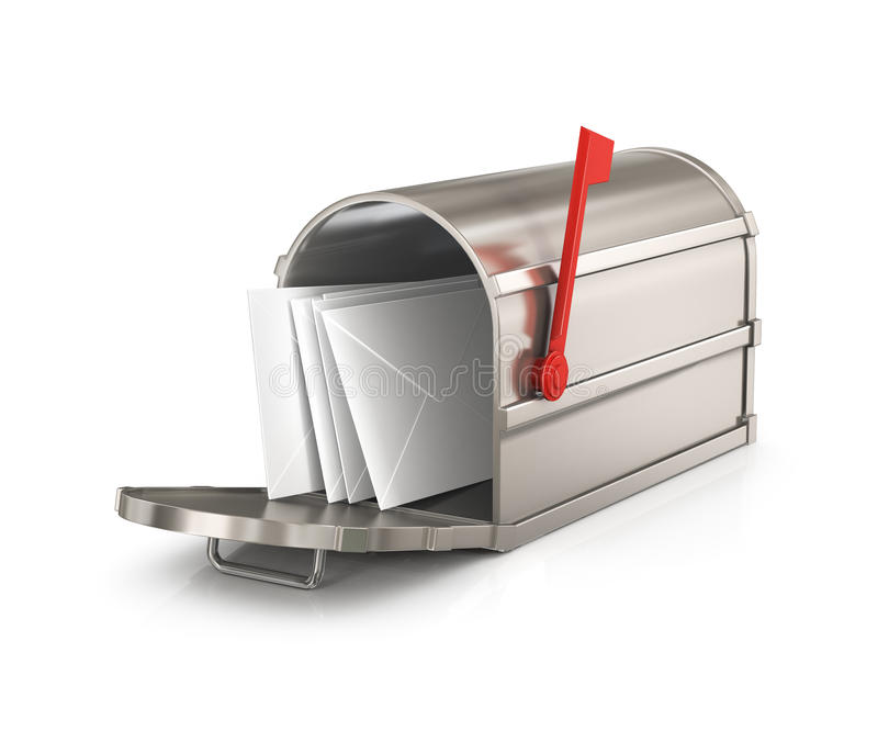 Open mailbox with letters royalty free illustration