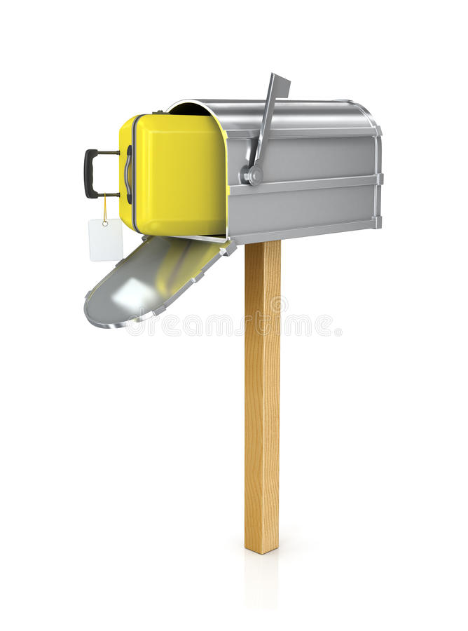 Open the mailbox in which the yellow suitcase stock illustration