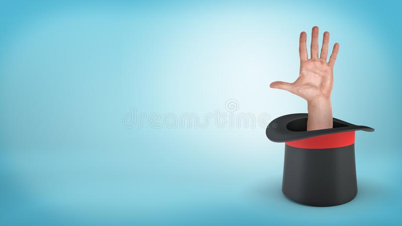 An open male palm sticking out from inside an overturned illusionist`s hat on a blue background. royalty free stock photography