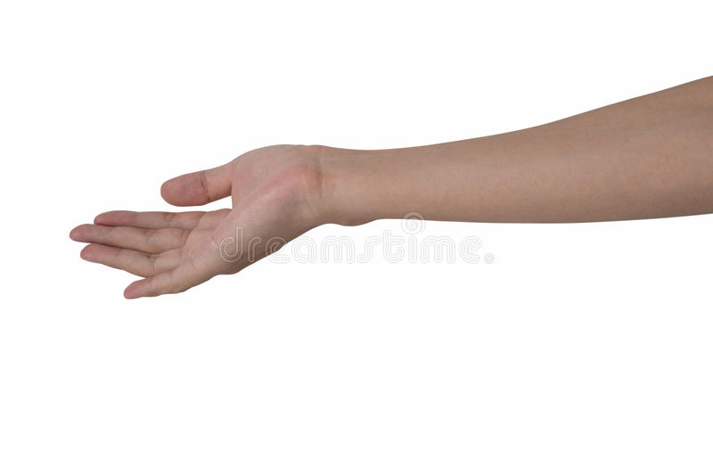 Open man hand for receive item isolated with white background. Open hand for receive item isolated with white background stock image