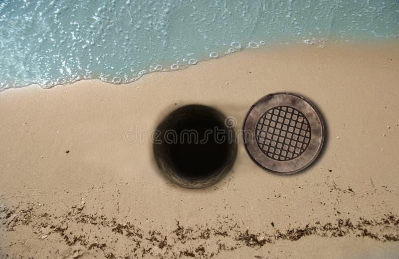 Open Manhole on Beach royalty free stock photos