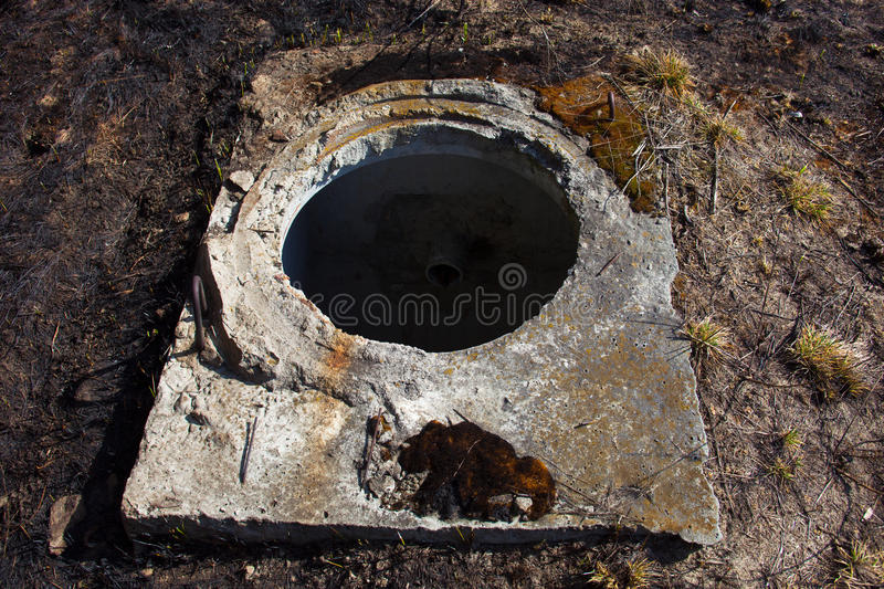 Open manhole without cover. Open manhole in concrete block base without cover royalty free stock photos