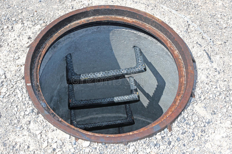 Open manhole without cover stock photo