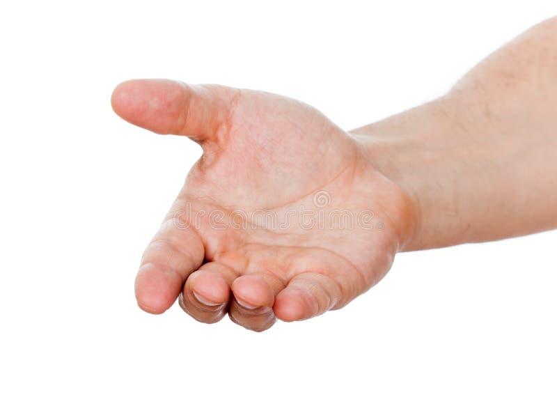 Open mannelijke hand die op wit wordt geïsoleerd stock foto's