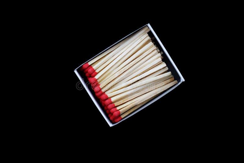 Open Matchbox isolated. On black background stock photography