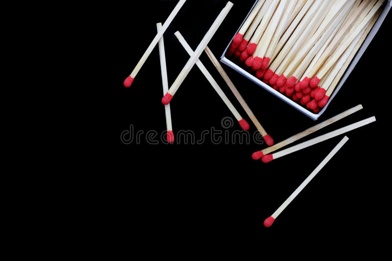 Open Matchbox isolated. On black background royalty free stock images