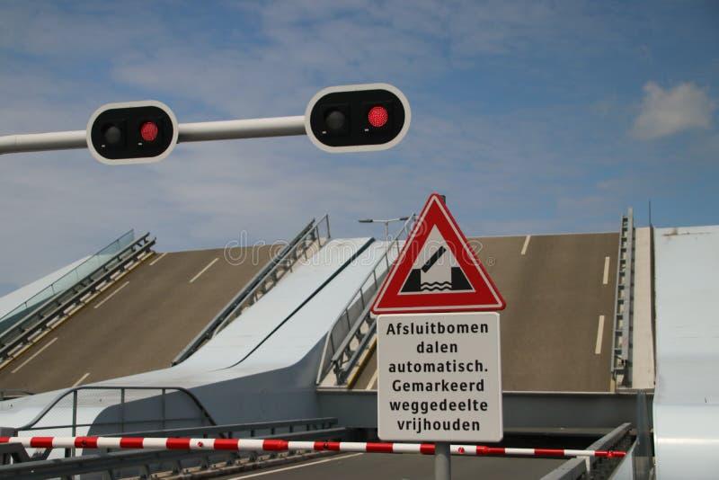 Open Maximabrug bridge over the Oude Rijn River in Alphen aan den Rijn in the Netherlands. stock photo
