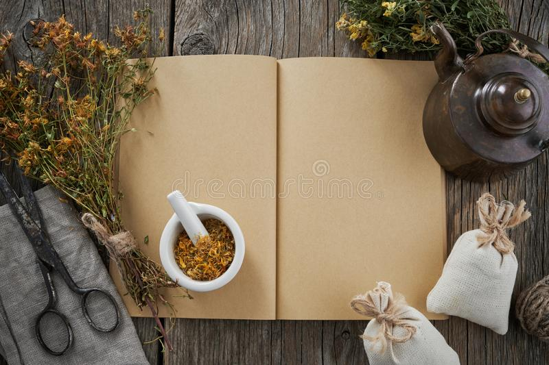 Open medical recipe book; Hypericum bunch; mortar and vintage teapot. Top view. royalty free stock photos