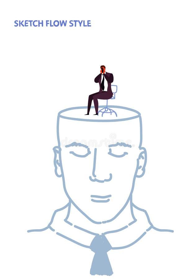Open menselijke hoofd droevige gedeprimeerde en eenzame mens die zijn van het gezichtscrisis en probleem het rouwen schets van he royalty-vrije illustratie