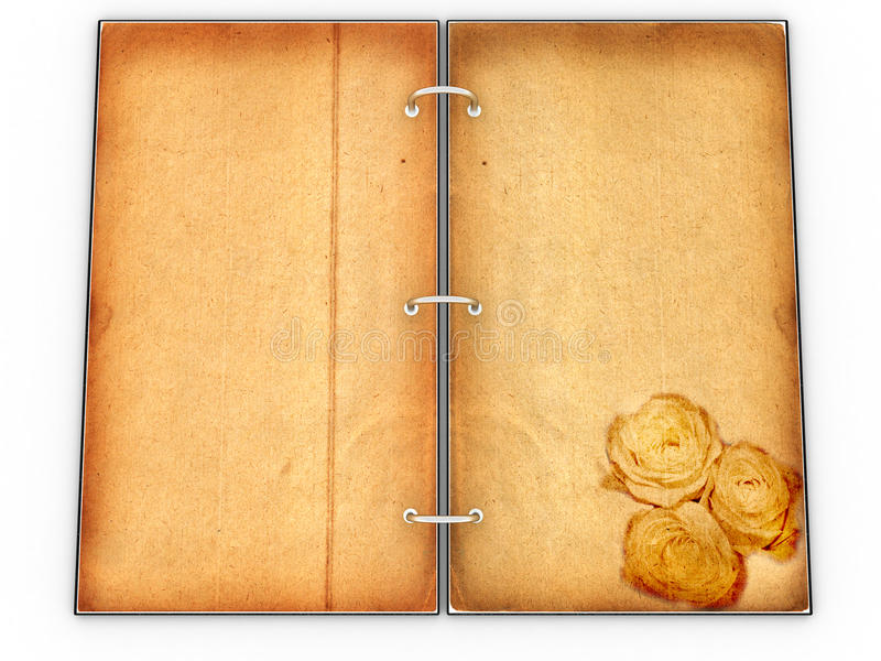 "Open the menu - diary made of leather â""–4. Open the menu - diary made of leather and old paper on white background â""–4 royalty free illustration"