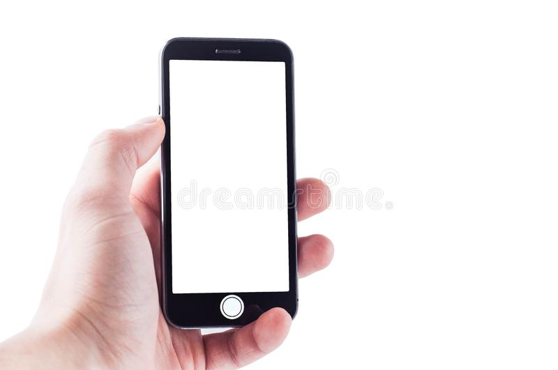 Open menu of photographing on a smartphone with a white large and button screen on a white background, isolate in hand royalty free stock photos