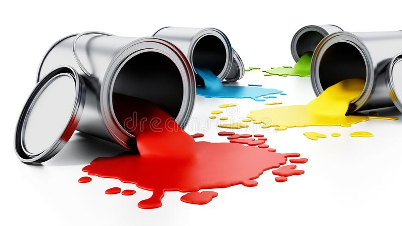 Open metal paint cans with spilled paints. 3D illustration royalty free illustration