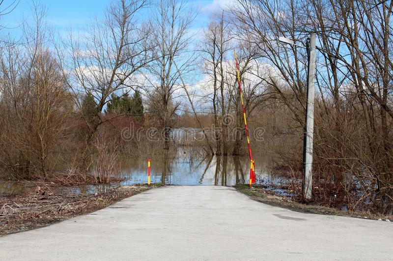 Open metal ramp leading to flooded forest road royalty free stock photography