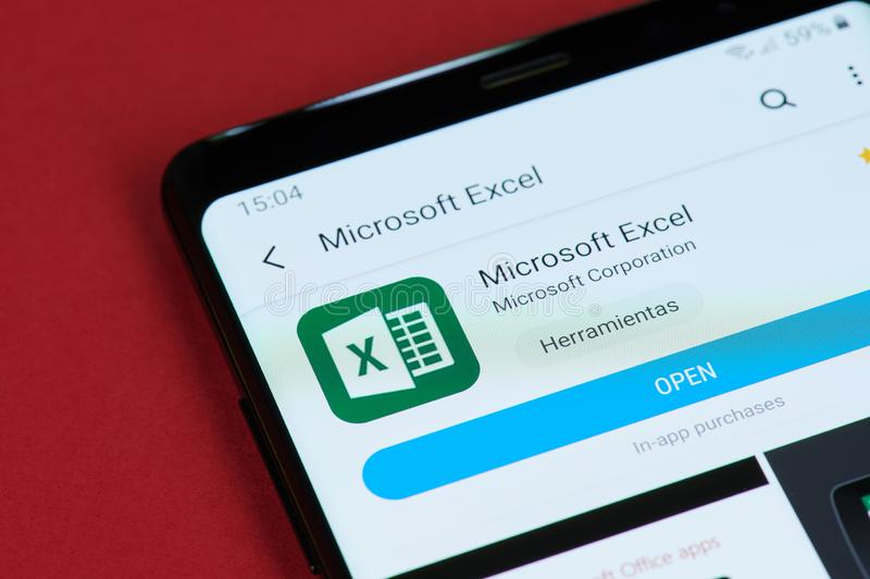 Open Microsoft office excel. New york, USA - May 15, 2019: Open Microsoft office excel on smartphone screen close up stock images