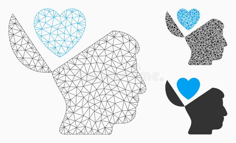 Open Mind Love Heart Vector Mesh Network Model and Triangle Mosaic Icon vector illustration