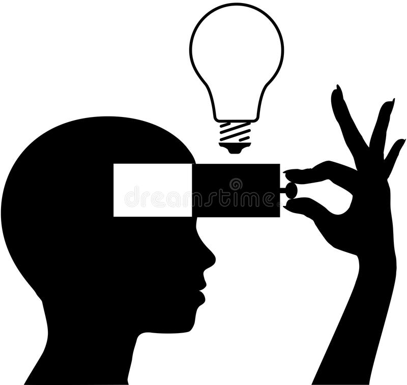 Open a mind to learn new idea education. Person learning or inventing a new idea into an open mind vector illustration