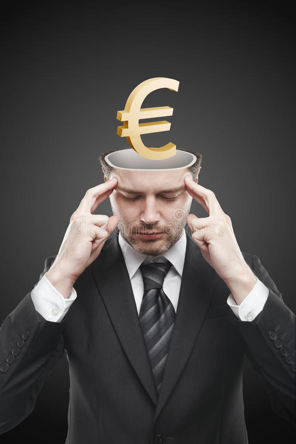 Download Open Minded Man With 3d Gold Euro Sign Inside Stock Photo - Image: 20937880