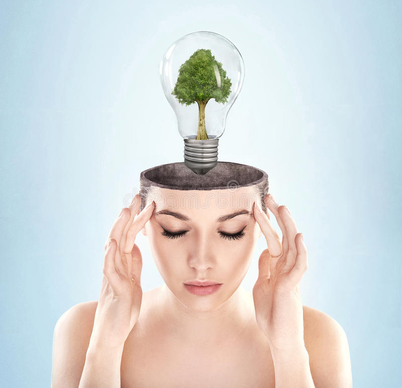 Open minded woman stock image