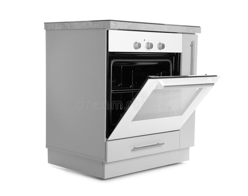Open modern electric oven on white background. Kitchen appliance royalty free stock photo