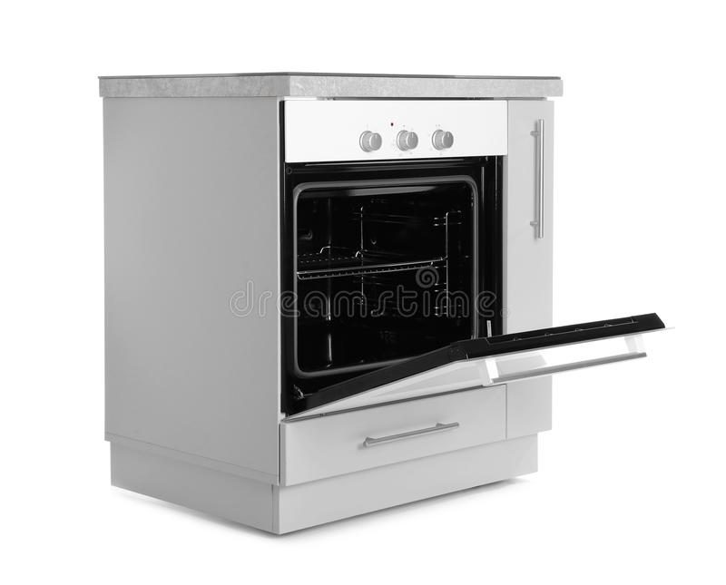 Open Modern Electric Oven On White Background Stock Photo ...
