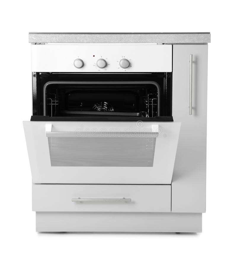 Open Modern Electric Oven On White Background Stock Image ...