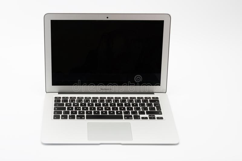 Open modern new laptop on white background royalty free stock image
