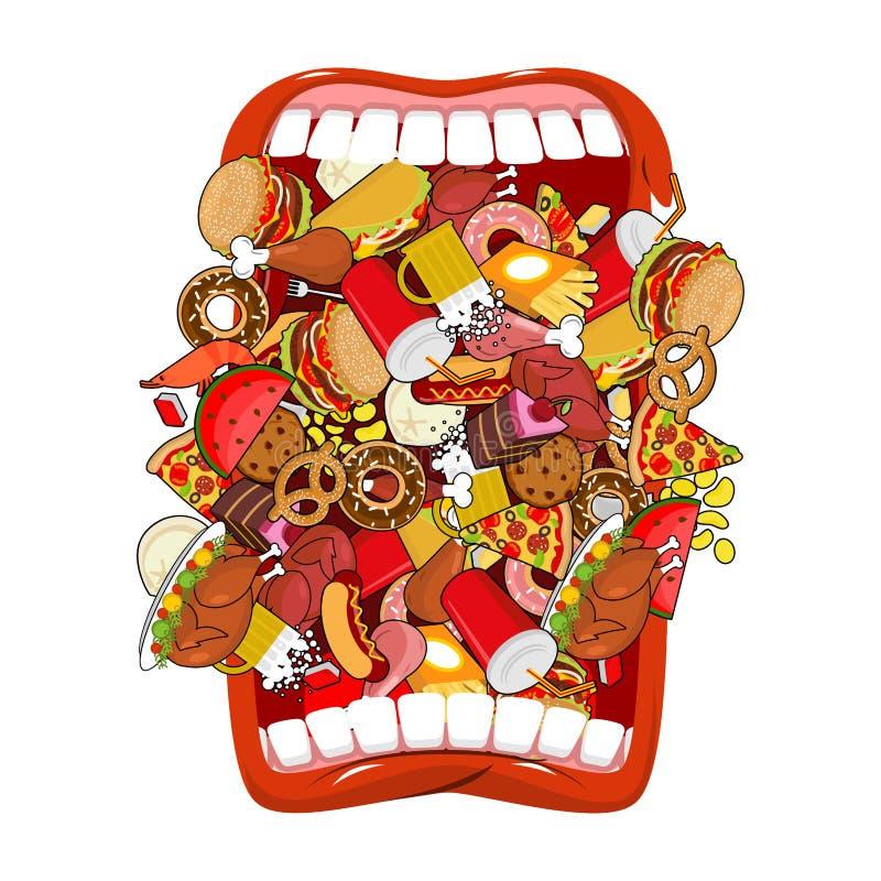 Open mond en voedsel Absorptie van voer Eet veel van maaltijd zeer stock illustratie