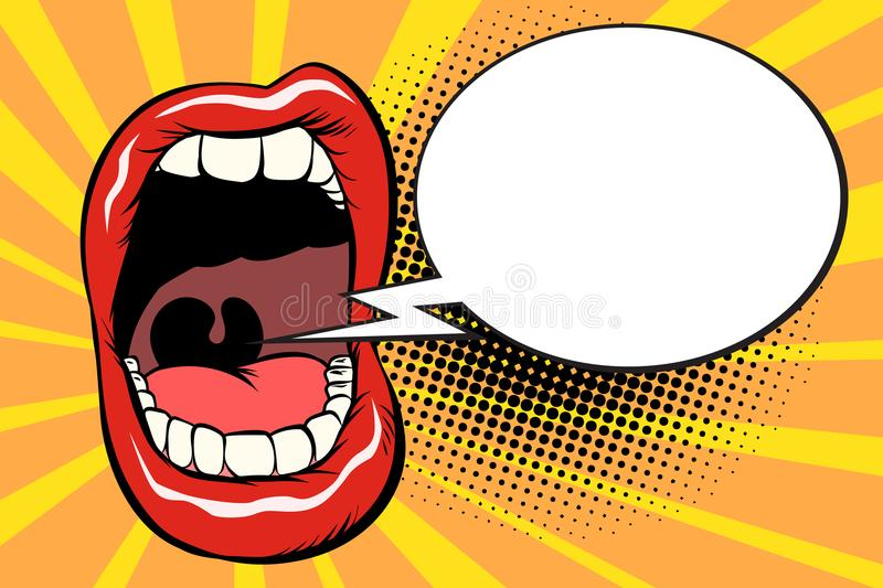 Open mouth comic balloon royalty free illustration
