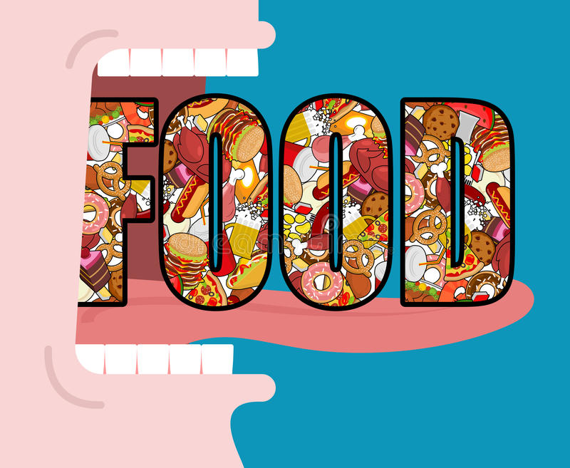 Open mouth and food. Absorption of feed. Eat many of meal. Very vector illustration