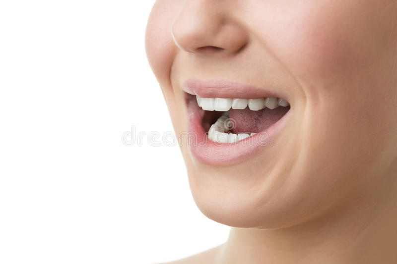 Open mouth of woman stock image