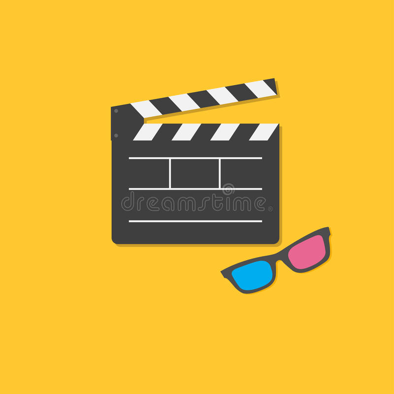 open movie clapper board and 3d glasses template icon flat design style stock vector image. Black Bedroom Furniture Sets. Home Design Ideas