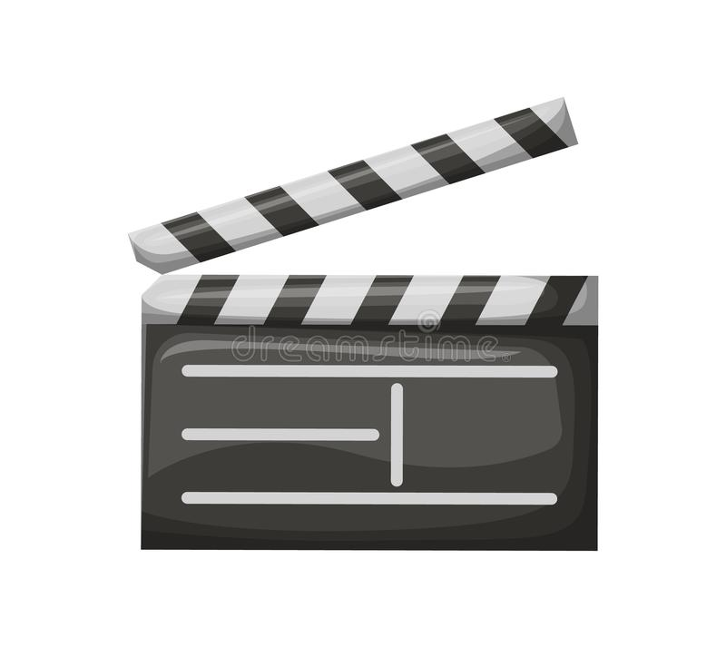 Movie Clapper with Stripes, Film Industry Vector. Open movie clapper on white. Empty check board with stripes, black glossy cinema object, equipment for making stock illustration