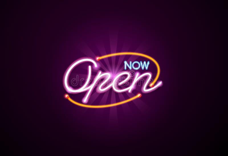 Open neon sign vector illustration