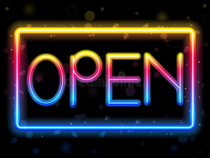Download Open Neon Sign Rainbow Color Stock Photos - Image: 18940643